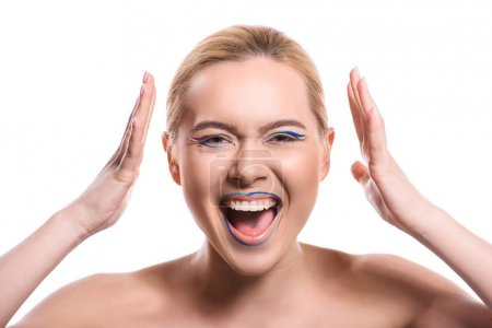 woman with colored makeup with lines screaming isolated on white