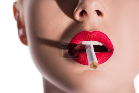 Photo for Cropped image of woman with makeup smoking cigarette isolated on white - Royalty Free Image