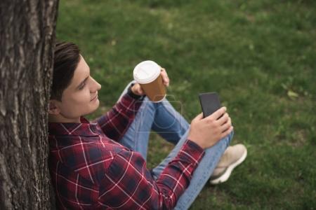 Man using smartphone at park
