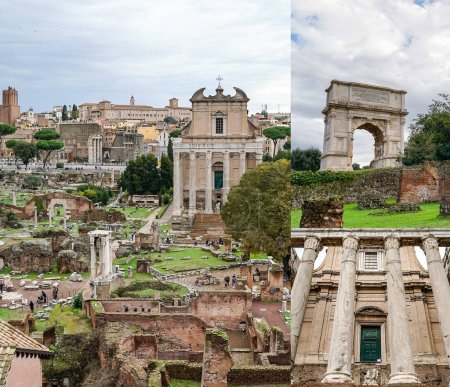 collage of arch of titus near ancient buildings in rome