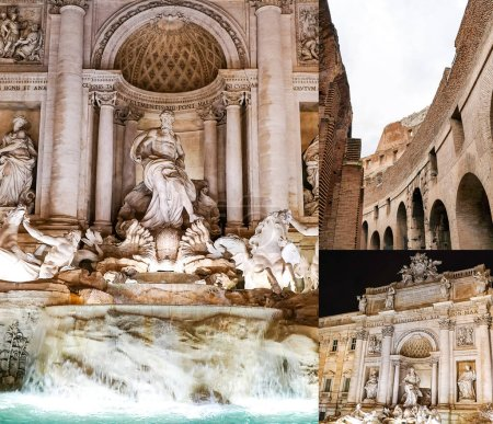 Photo for Collage of Trevi Fountain near ancient colosseum in rome - Royalty Free Image