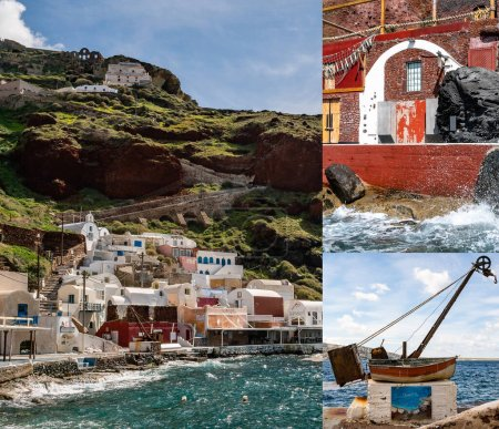 SANTORINI, GREECE - APRIL 10, 2020: collage of aegean sea near houses and  rusty boat with bell marine hellas lettering