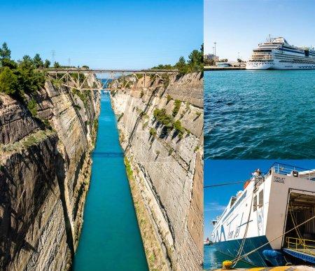 PIRAEUS, GREECE - APRIL 10, 2020: collage of bridge near rocks, cruise ship with aidabella lettering near ferry in aegean sea
