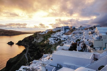 Photo for White houses on greek island near sea in evening - Royalty Free Image