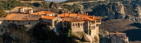 Photo for Panoramic shot of monastery of holy trinity on rock formations in meteora - Royalty Free Image