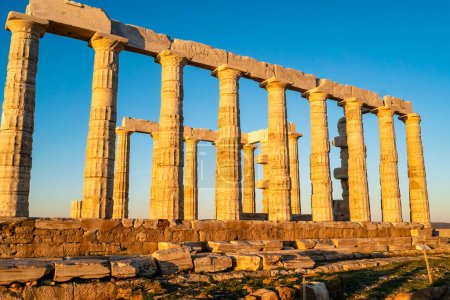 Photo for Sunshine on ancient columns of parthenon in athens - Royalty Free Image