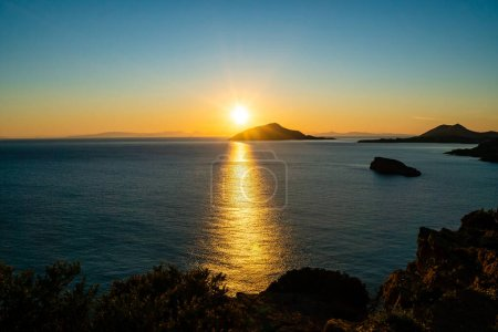 Photo for Sunset near scenic aegean sea in greece - Royalty Free Image