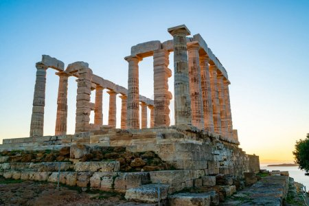Photo for Ancient columns of parthenon against blue sky - Royalty Free Image