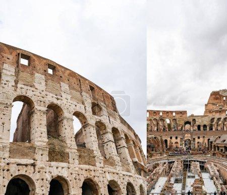 Photo pour ROME, ITALIE - 10 AVRIL 2020 : collage des murs historiques du Colisée contre un ciel nuageux - image libre de droit