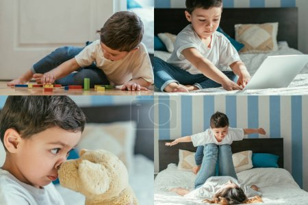 Photo for Collage of toddler boy with outstretched hands lying on mother, playing with toys and using laptop at home - Royalty Free Image