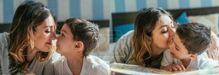 Photo pour Collage de femme embrasser joue de mignon tout-petit fils dans la chambre - image libre de droit