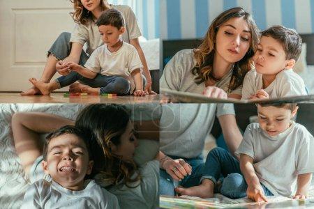 Photo pour Collage de mère et fils tout-petit couché sur le lit, jouer avec des jouets et lire le livre à la maison - image libre de droit