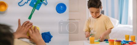 Photo for Collage of adorable boy sculpting colorful plasticine figures, panoramic crop - Royalty Free Image