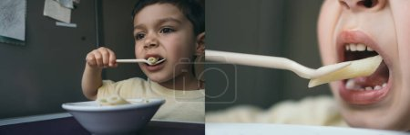 Photo pour Collage de mignon garçon brunette manger des pâtes penne avec fourchette, image horizontale - image libre de droit