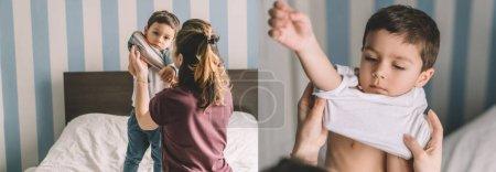 Photo pour Collage de mère habillage fils mignon dans la chambre, image horizontale - image libre de droit