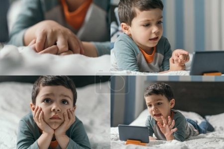 Photo pour Collage d'un mignon garçon regardant un webinaire sur un smartphone, pointant du doigt et allongé sur le lit avec les mains serrées - image libre de droit