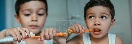 Photo pour Collage de gosse adorable appliquer du dentifrice sur la brosse à dents et brosser les dents dans la salle de bain, vue panoramique - image libre de droit