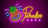 Paradise neon sign with strawberry for nighttime