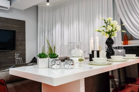 Modern white dining set in luxury dining room