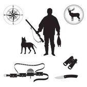 Set of sketch Huntsman with gun duck deer dog compass bandolier binoculars hunting knife isolated on white background art creative modern vector
