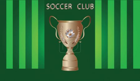 Cup with a soccer ball, gold, on a striped green background - art vector. Poster Sports