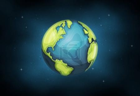Planet earth globe icon with hand drawn schematic continent and ocean frontiers