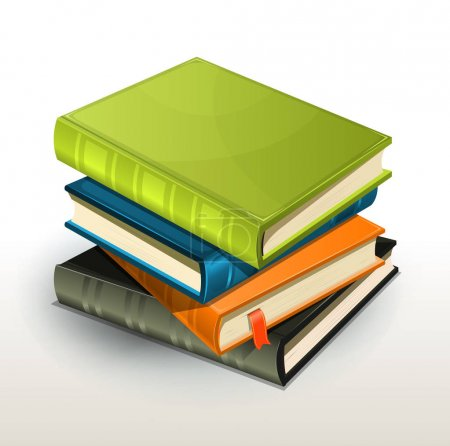 Colourful stack of books in green, blue, orange and grey colours.