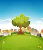 Cartoon spring or summer seasonal urban landscape with tree, green field and skyscrapers on background