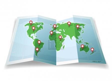 Illustration pour Illustration d'un dessin animé carte du monde simple avec des épingles et des emplacements - image libre de droit