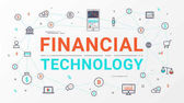 Fintech - Financial technology and blockchain technology Business investment info graphic with bitcoin icon Flat line style design for web banner business startup commercial poster design and advertising Vector illustration