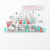 Fashion shopping concept This set contains icon elements fashion store discount label shopping bad basket t-shirt in cart credit card coin price tag and clothing Vector illustration