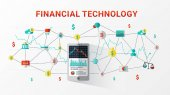 Financial technology Fintech and blockchain technology Business investment infographic with bitcoin icons Financial exchange and trading design concept Flat style design for web banner business startup commercial ads Vector illustration