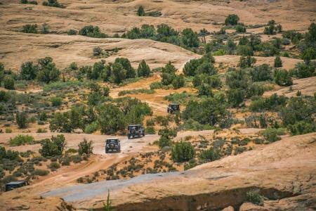 Off roading in Moab Utah with 4 vehicles