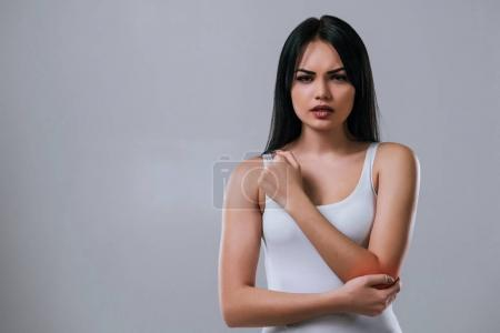 Beautiful woman on grey background