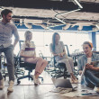 Group of young business people are working togethe...