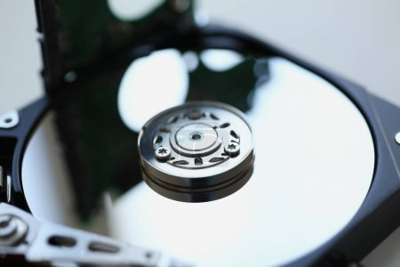 Hard drive from computer or laptop lies on the table