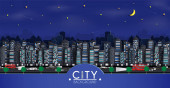 Cityscape with buildings with Group of Skyscrapers in the nightand the panorama viewand traffic of cars within the cityand represents the city in Europe and paper cut style design and background