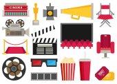cinema movie icons set