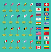 Colorful world countries flags set vector illustration