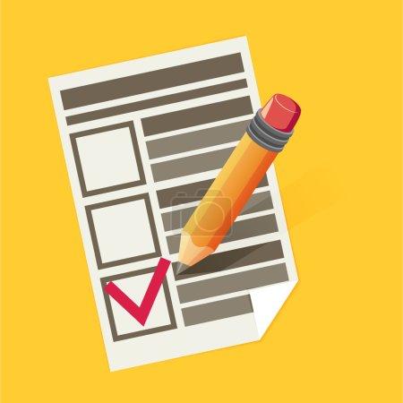 pencil, paper and checklist