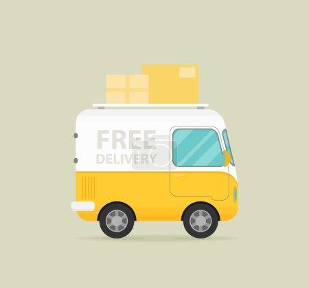 Ilustración de Envío gratis icono plano del coche. Ilustración de vector - Imagen libre de derechos