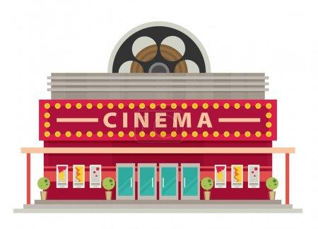 Cinema building flat style