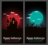 Set of Halloween night backgrounds vector illustration