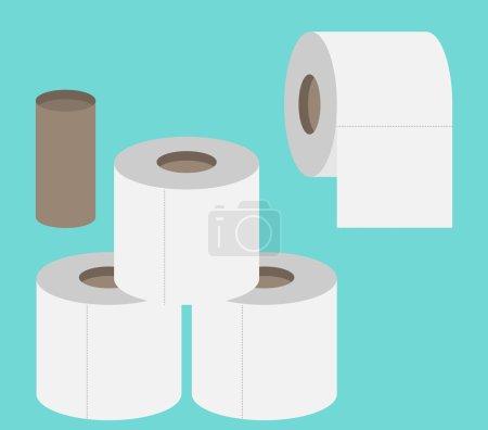 Toilet papers rolls flat design