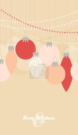 Illustration pour Boules de Noël plates, carte de Noël vectorielle - image libre de droit