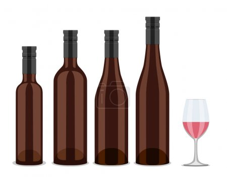 set of bottles of wine