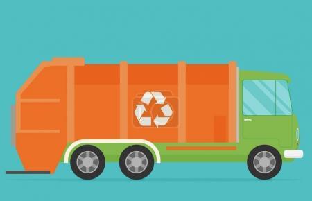Orange garbage truck transportation.