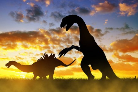 Silhouette of dinosaurs