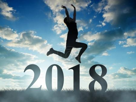 Girls jump to the New Year 2018.