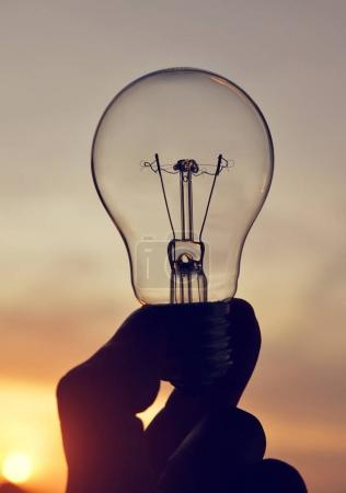 Electrical light bulb in hand.